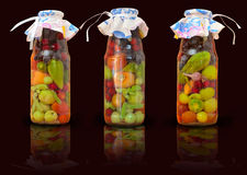 Jars with conserved vegetables Stock Photo