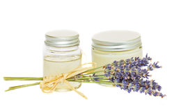 Jars with cream and lavender Royalty Free Stock Photo