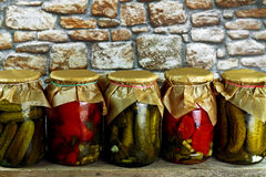 Jars with cucumbers tomatoes Royalty Free Stock Photos