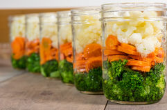 Jars of cut vegetables for canning Royalty Free Stock Photo