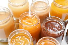 Jars with different baby food, Royalty Free Stock Photo
