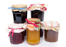 Jars of different jams and marmalades Royalty Free Stock Photography