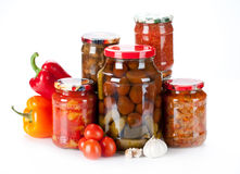 Jars with different kind of pickles, home made Stock Photography