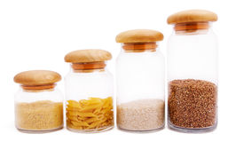 Jars with different kinds of groats Stock Image