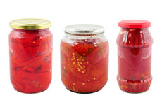 Jars with different preserved vegetables Stock Photography