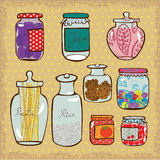 Jars. Doodle of jars for various products Royalty Free Stock Photos