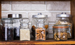 Jars with dried fruits and nuts Royalty Free Stock Photo