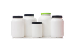 The jars with food additive protein isolated on Royalty Free Stock Image