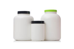 The jars with food additive protein isolated on Royalty Free Stock Photo