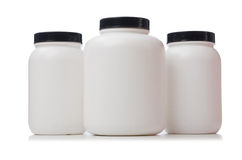 The jars with food additive protein isolated on Stock Photo