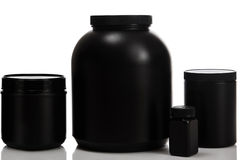 Jars with food supplements Royalty Free Stock Photography