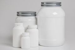 Jars with food supplements Stock Images