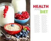 Jars of fresh natural yogurt, berries and cereals Stock Photo
