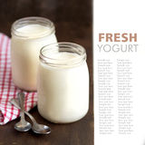 Jars of fresh natural yogurt Stock Image