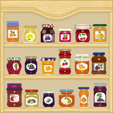 Jars of fruit jam Royalty Free Stock Photos
