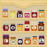 Jars of fruit jam Royalty Free Stock Photos