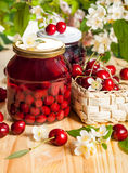 Jars of fruit preserves royalty free stock image