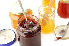 Jars of fruity jam Stock Photography