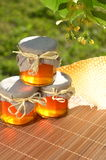 Jars full of delicious fresh honey linden flowers and honeycomb Royalty Free Stock Image