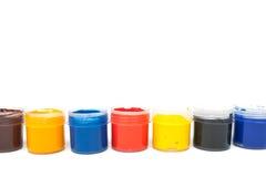 Jars with gouache Royalty Free Stock Photos