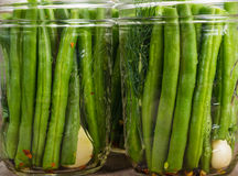 Jars of gren beans ready to preserve Stock Image