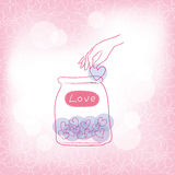 Jars with hearts Royalty Free Stock Photography