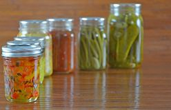Jars of home canned food Royalty Free Stock Image