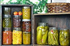 Jars of home canned food Royalty Free Stock Photos