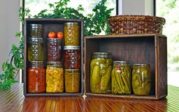 Jars of home canned food Royalty Free Stock Images