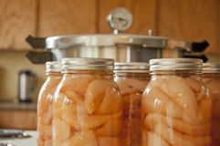 Jars of home canned pears. Glass jars of home canned pears with a pressure cooker Stock Image