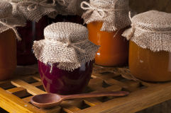 Jars of homemade jam. Stock Photos
