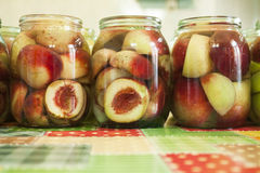 Jars of homemade peach preserves Royalty Free Stock Photography