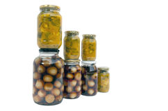 Jars of Homemade Piccalilli and Pickled Onions Royalty Free Stock Photo