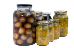 Jars of Homemade Pickled Onions and Piccalilli Royalty Free Stock Photos