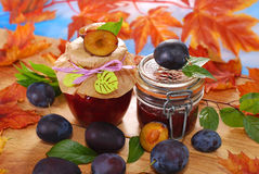 Jars with homemade  plum jam Royalty Free Stock Photography