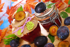 Jars with homemade  plum jam Stock Photography