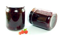 Jars of homemade raspberry jam Stock Images
