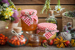 Jars of honey, bottles of healthy herbs and healing herbs Stock Image