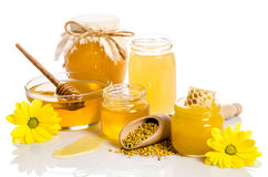 The jars of honey with honeycombs, glass bowl with honey. The jars of honey, one of them with honeycombs, glass bowl with honey and wooden scoop with pollen Stock Image