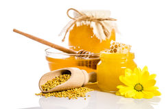 The jars of honey with honeycombs, glass bowl with honey. The jars of honey, one of them with honeycombs, glass bowl with honey and wooden scoop with pollen Stock Photos