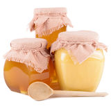Jars of honey on a white background Royalty Free Stock Images