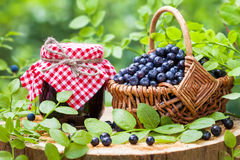 Jars of jam and basket with wild blueberries Royalty Free Stock Images