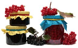 Jars of jam and berries isolated on white Stock Images