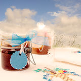 Jars of jam in the field Stock Images
