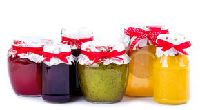 Jars with jam isolated Royalty Free Stock Photos