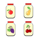 Jars of jam juice or jam. Banks with fruit on a transparent background. Vector Stock Images