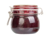 Jars of Jam. On a shelf Royalty Free Stock Images