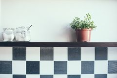 Jars on the kitchen shelf. Domestic plant in a pot and jars on the kitchen shelf on the wall, close-up stock photos