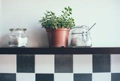 Jars on the kitchen shelf Royalty Free Stock Photo