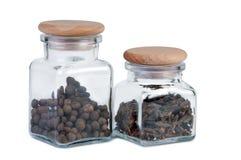 jars kryddar white två Arkivfoton